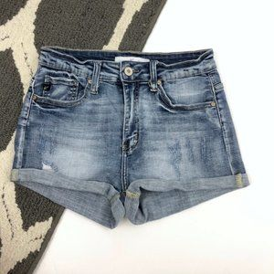 Mid Rise Frayed Folded Hem Distress Denim Shorts